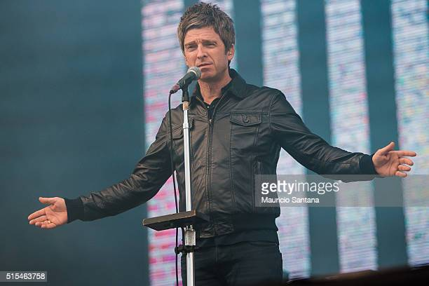 Noel Gallagher of Noel Gallagher's High Flying Birds performs live on sage at Autodromo de Interlagos on March 13 2016 in Sao Paulo Brazil