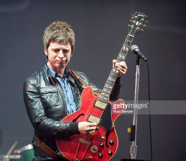 Noel Gallagher of Noel Gallagher's High Flying Birds performs on stage during T In The Park Festival at Balado on July 7 2012 in Kinross United...