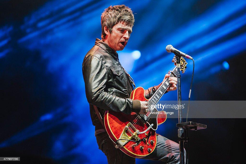 Noel Gallagher of Noel Gallagher's High Flying Birds performs on the main stage for Best Kept Secret Festival at Beekse Bergen on June 20, 2015 in Hilvarenbeek, Netherlands.