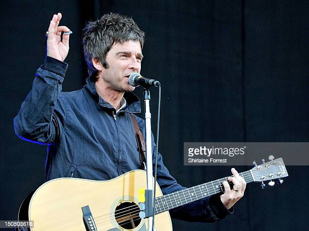 Noel Gallagher performs at V Festival at Weston Park on August 19 2012 in Stafford England