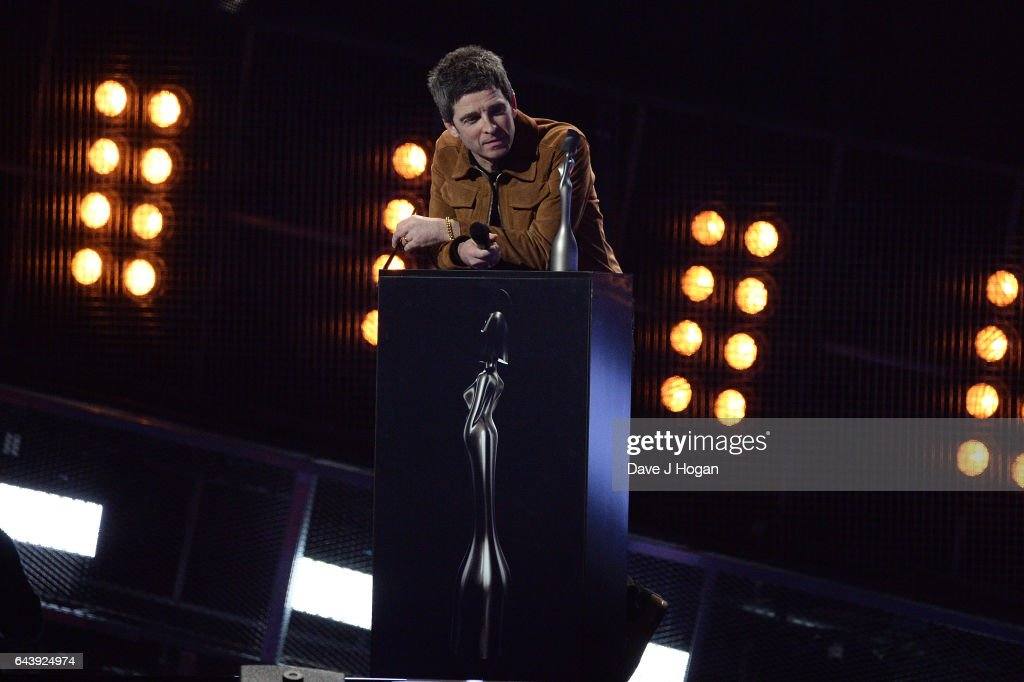 ONLY. Noel Gallagher presents on stage at The BRIT Awards 2017 at The O2 Arena on February 22, 2017 in London, England.