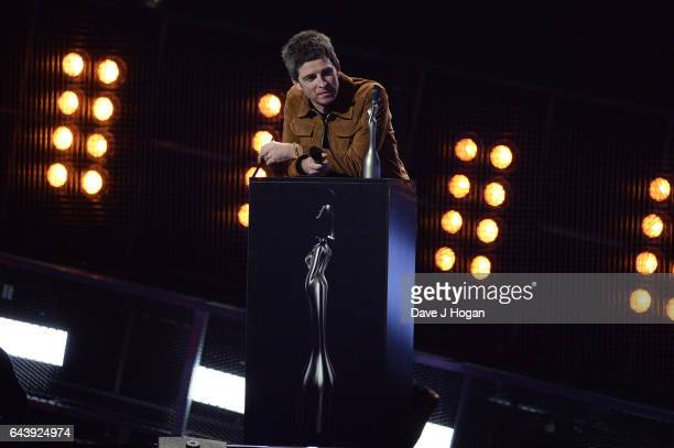 ONLY Noel Gallagher presents on stage at The BRIT Awards 2017 at The O2 Arena on February 22 2017 in London England