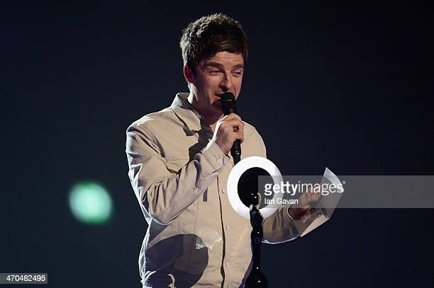 Noel Gallagher presents the British Male Solo Artist award at The BRIT Awards 2014 at 02 Arena on February 19 2014 in London England