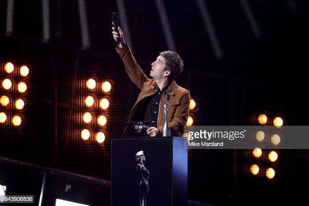 Noel Gallagher presents the Mastercard British Album of the Year award on stage at The BRIT Awards 2017 at The O2 Arena on February 22 2017 in London...
