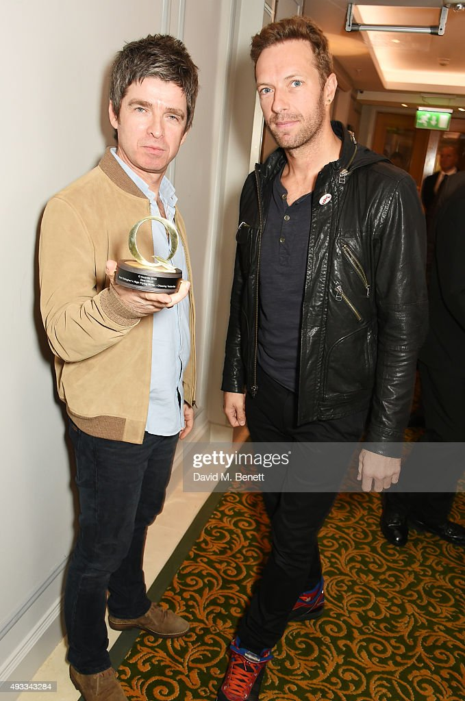 Noel Gallagher winner of the Best Album Award for 'Chasing Yesterday' by Noel Gallagher's High Flying Birds and Chris Martin pose at The Q Awards at...