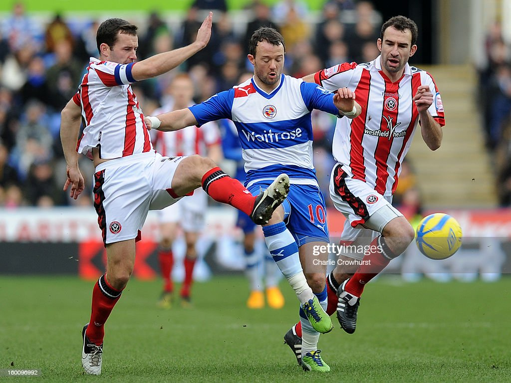 Noel Hunt of Reading attacks during the FA Cup Fourth Round match between Reading and Sheffield United at the Madejski Stadium on January 26, 2013 in London England.