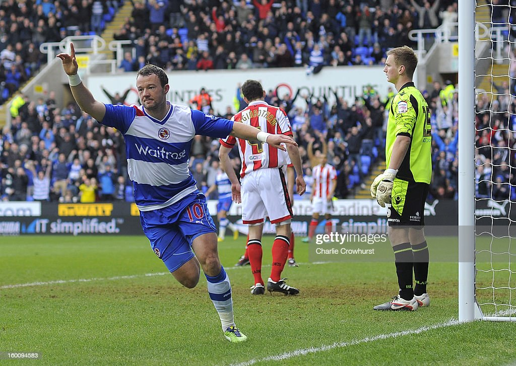 Noel Hunt of Reading celebrates after he scores the first goal of the game during the FA Cup Fourth Round match between Reading and Sheffield United at the Madejski Stadium on January 26, 2013 in London England.