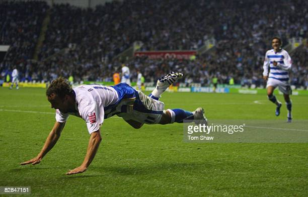 Noel Hunt of Reading celebrates scoring his second goal during the Coca Cola Championship match between Reading and Sheffield Wednesday at the...