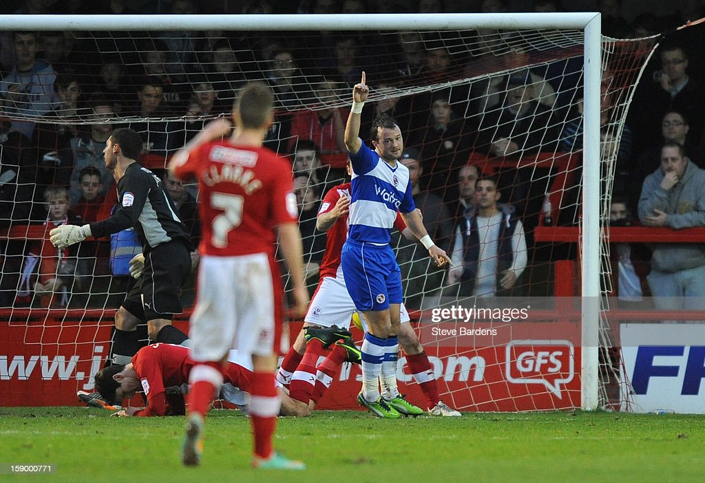 Noel Hunt of Reading celebrates scoring Reading's second goal during the FA Cup with Budweiser Third Round match between Crawley Town and Reading at Broadfield Stadium on January 5, 2013 in Crawley, West Sussex.