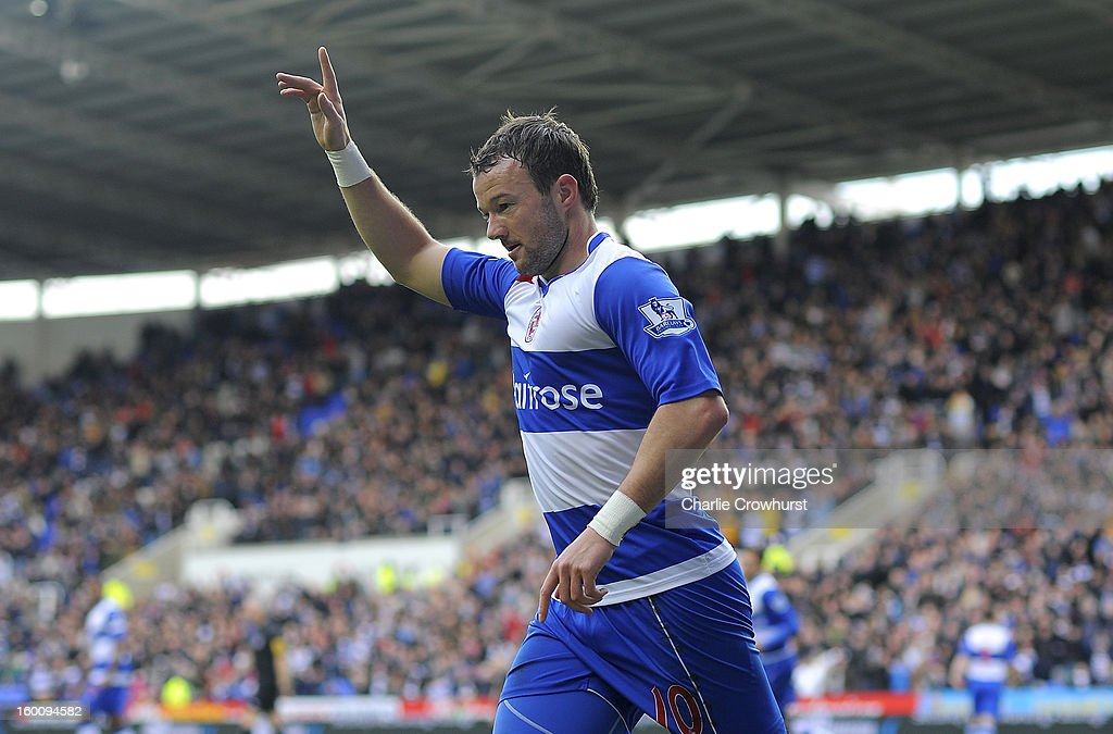 Noel Hunt of Reading during celebrates after he scores the first goal of the game during the FA Cup Fourth Round match between Reading and Sheffield United at the Madejski Stadium on January 26, 2013 in London England.