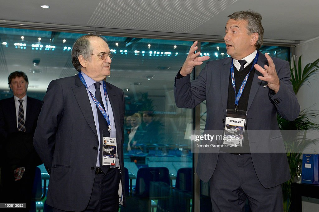 <a gi-track='captionPersonalityLinkClicked' href=/galleries/search?phrase=Noel+Le+Graet&family=editorial&specificpeople=616884 ng-click='$event.stopPropagation()'>Noel Le Graet</a>, president of the French Football Federation FFF and <a gi-track='captionPersonalityLinkClicked' href=/galleries/search?phrase=Wolfgang+Niersbach&family=editorial&specificpeople=555796 ng-click='$event.stopPropagation()'>Wolfgang Niersbach</a>, president of the German Football Federation DFB, hold a speach during a meeting of the 1982 World Cup teams of France and Germany on February 6, 2013 in Paris, France.