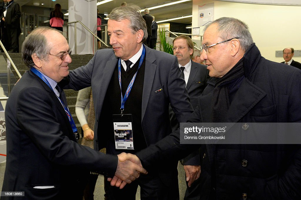 <a gi-track='captionPersonalityLinkClicked' href=/galleries/search?phrase=Noel+Le+Graet&family=editorial&specificpeople=616884 ng-click='$event.stopPropagation()'>Noel Le Graet</a>, president of the French Football Federation FFF greets <a gi-track='captionPersonalityLinkClicked' href=/galleries/search?phrase=Felix+Magath&family=editorial&specificpeople=206318 ng-click='$event.stopPropagation()'>Felix Magath</a> of Germany during a meeting of the 1982 World Cup teams of France and Germany on February 6, 2013 in Paris, France.