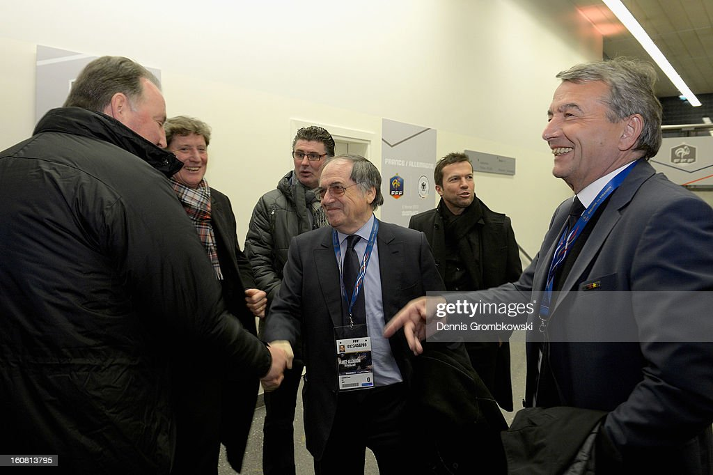 <a gi-track='captionPersonalityLinkClicked' href=/galleries/search?phrase=Noel+Le+Graet&family=editorial&specificpeople=616884 ng-click='$event.stopPropagation()'>Noel Le Graet</a> shakes hands with german players during a meeting of the 1982 World Cup teams of France and Germany on February 6, 2013 in Paris, France.