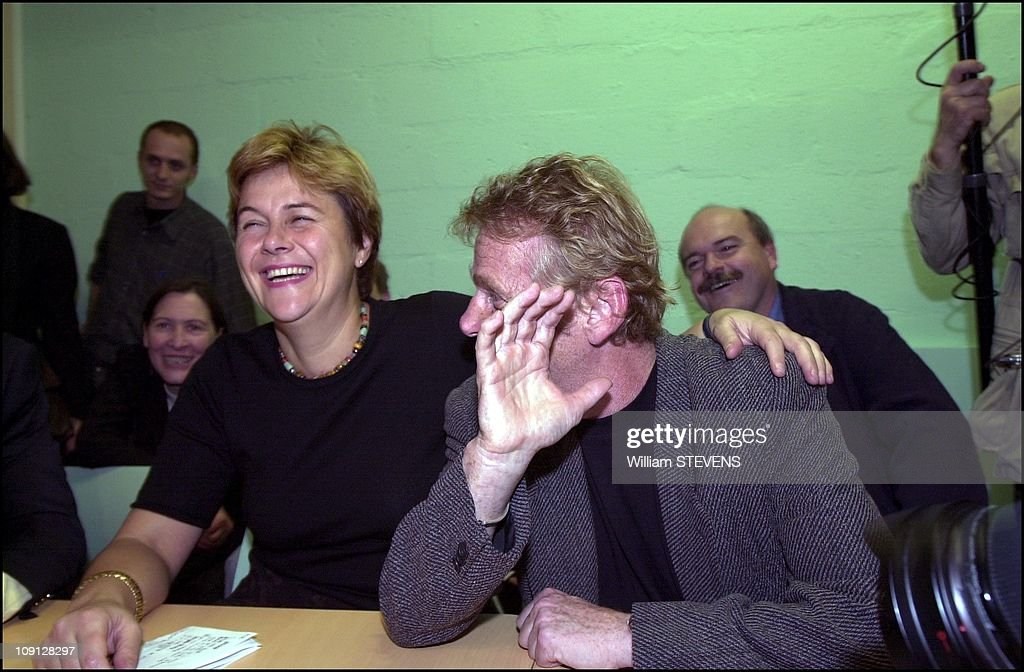 Noel Mamere, Dominique Voynet And Daniel Cohn-Bendit At The French Green Party Headquarters On October 30Th, 2001 In Paris, France.
