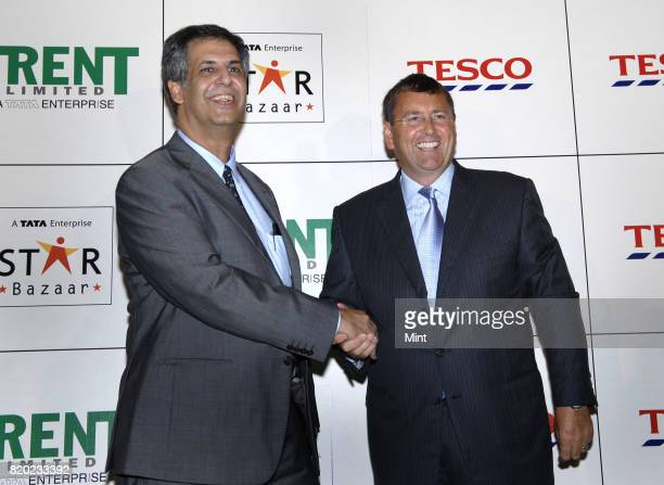 Noel N Tata Managing Director of TRENT Limited with Philip Clarke International and IT Director of TESCO brief the media after announcing TESCOs...