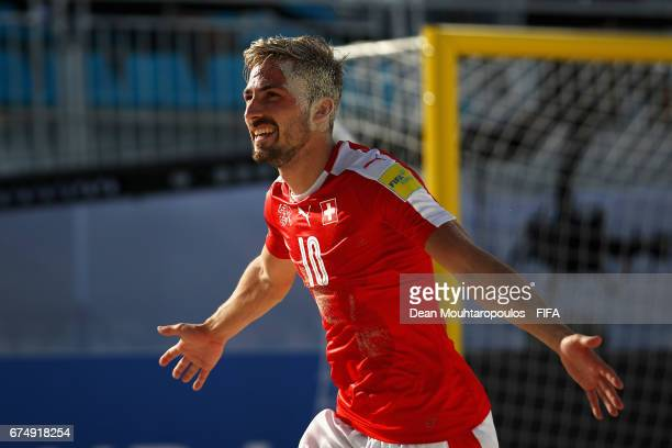 Noel Ott of Switzerland celebrates scoring a goal during the FIFA Beach Soccer World Cup Bahamas 2017 group A match between Switzerland and Ecuador...