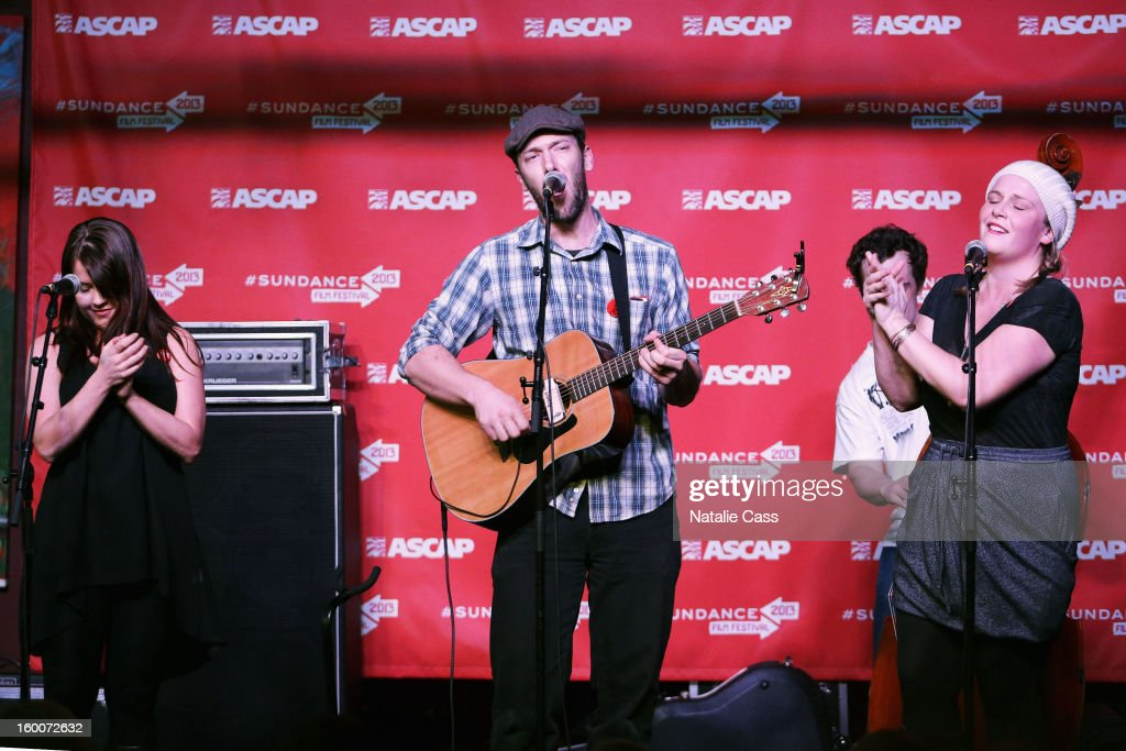 Noel Sandberg, Ryan Cron and Erin Haley of Bullets and Belles perform onstage at the ASCAP Music Cafe Day 8 during the 2013 Sundance Film Festival at Sundance ASCAP Music Cafe on January 25, 2013 in Park City, Utah.