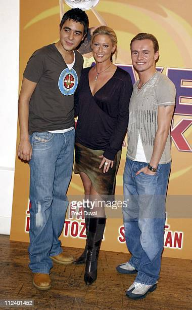 Noel Sullivan Faye Tozer and Jon Lee during 'Love Shack' the Musical Press Launch and Photocall at No 9 Adam Street in London Great Britain