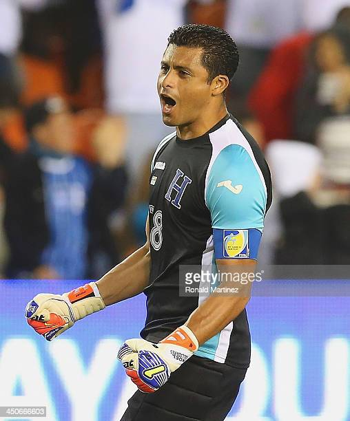 Noel Valladares of Honduras celebrates a goal against Ecuador during an international friendly match at BBVA Compass Stadium on November 19 2013 in...