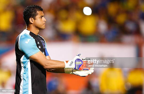 Noel Valladares of Honduras cheers on his teammates during a friendly match against Brazil in the first half at Sun Life Stadium on November 16 2013...