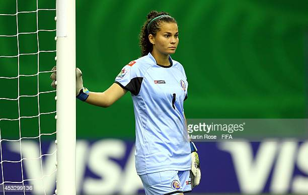 Noelia Bermudez goalkeeper of Costa Rica looks on during the FIFA U20 Women's World Cup 2014 group D match between France and Costa Rica at Olympic...