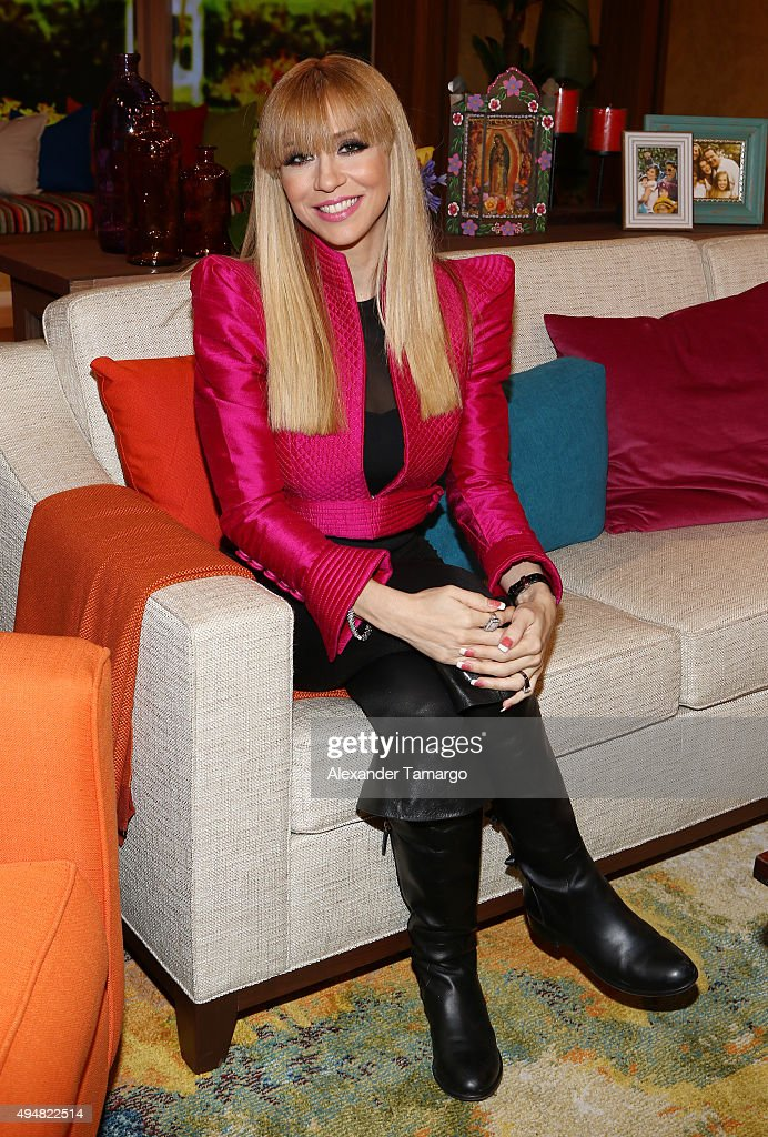 <a gi-track='captionPersonalityLinkClicked' href=/galleries/search?phrase=Noelia&family=editorial&specificpeople=3208798 ng-click='$event.stopPropagation()'>Noelia</a> is seen on the set of 'Despierta America' at Univision Studios on October 29, 2015 in Miami, Florida.
