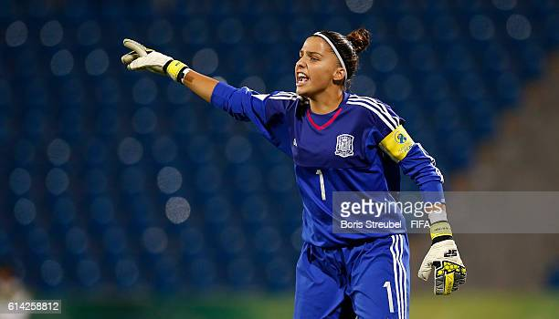 Noelia Ramos of Spain gestures during the FIFA U17 Women's World Cup Quarter Final match between Germany and Spain at Amman International Stadium on...