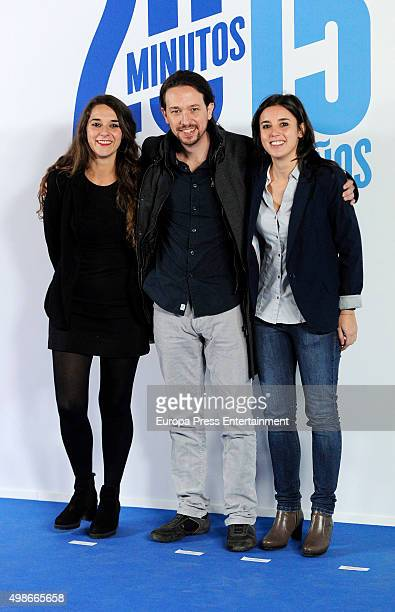 Noelia Vera Pablo Iglesias and Irene Montero attend the 15th anniversary of the newspaper '20minutos' at Comunidad de Madrid headquarters on November...