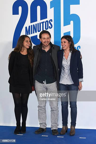 Noelia Vera Pablo Iglesias and Irene Montero attend the '20 Minutos' newspaper 15th anniversary at the Real Casa de Correos on November 24 2015 in...