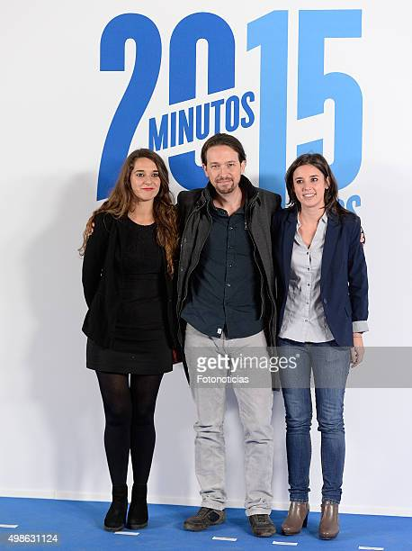 Noelia Vera Pablo Iglesias and Irene Montero attend the '20 Minutos' Newspaper XV Anniversary Party at the Real Casa de Correos on November 24 2015...