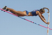 Noelina Madrieta of Argentina competes in Women's pole vault during day eight of the X South American Games Santiago 2014 at Estadio Nacional de...