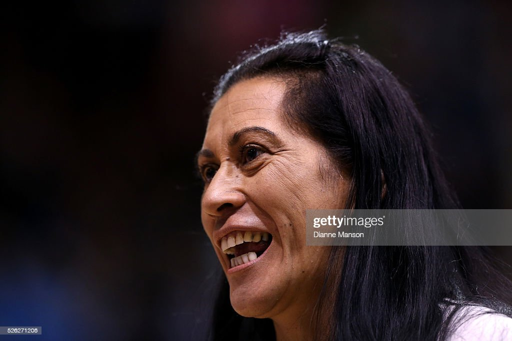 Noeline Taurua coach of the Steel speaks with SkyTv after the ANZ Championship match between the Steel and the Fever on April 30, 2016 in Invercargill, New Zealand.