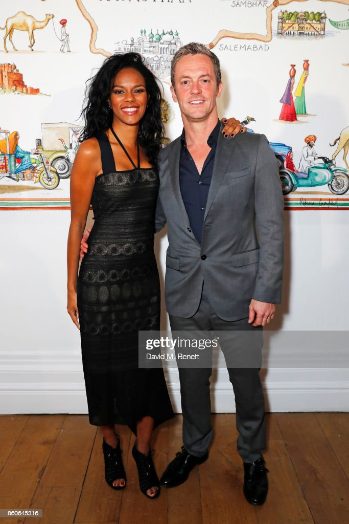 Noella Coursaris Musunka and James Masters attend the Travels to My Elephant racer send-off party hosted by Ruth Ganesh, Ben Elliot and Waris Ahluwalia in association with The Luxury Collection at 1 Horse Guards Avenue on October 12, 2017 in London, England.