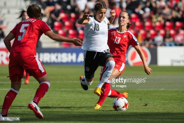 Noelle Maritz of Switzerland women Laura Feiersinger of Austria women Lia Walti of Switzerland women during the UEFA WEURO 2017 Group C group stage...