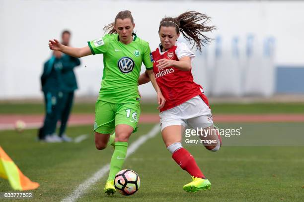 Noelle Maritz of Wolfsburg challenges Carla Humphrey of Arsenal during the Women's Friendly Match between VfL Wolfsburg Women's and Arsenal FC Women...