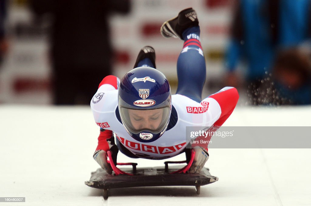Noelle Pikus Pace of USA competes in the women's skeleton third heat of the IBSF Bob & Skeleton World Championship at Olympia Bob Run on February 1, 2013 in St Moritz, Switzerland.