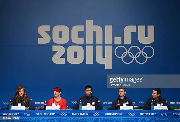 Noelle PikusPace Katie Uhlaender Matthew Antoine John Daly and Kyle Tress of the United States attend a Skeleton team press conference ahead of the...