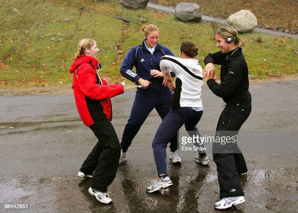 Noelle PikusPace member of the USA Olympic Skeleton Team dances with her teammates to stay loose before the US team trials at the Verizon Sports...