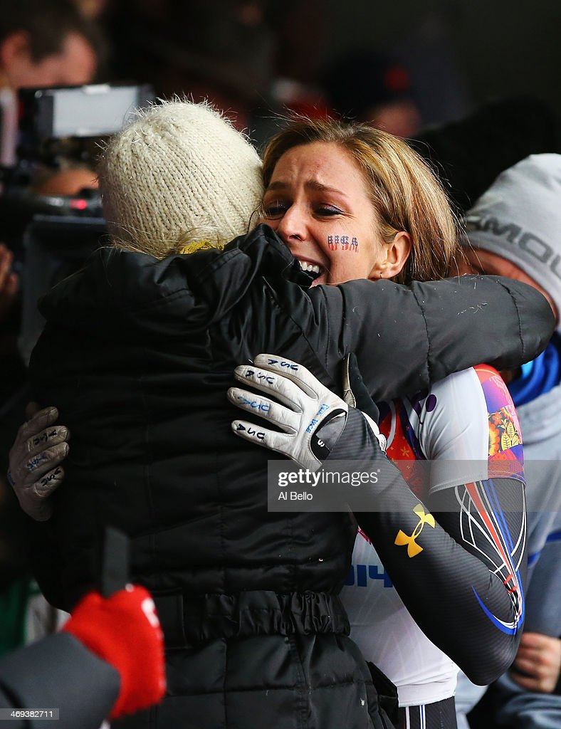 Noelle PikusPace of the United States celebrates winning the silver medal during the Women's Skeleton on Day 7 of the Sochi 2014 Winter Olympics at...