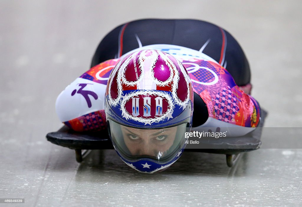 Noelle PikusPace of the United States competes a run during the Women's Skeleton on Day 7 of the Sochi 2014 Winter Olympics at Sliding Center Sanki...
