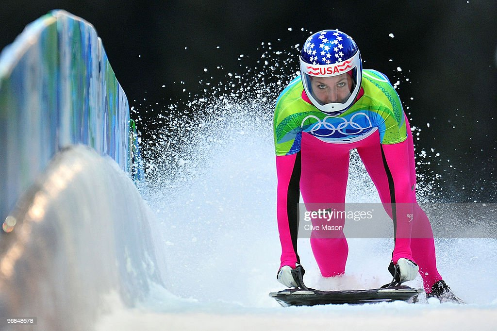 Noelle PikusPace of The United States competes in the women's skeleton on day 7 of the 2010 Vancouver Winter Olympics at The Whistler Sliding Centre...