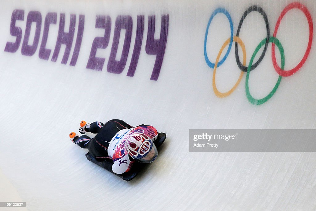 Noelle PikusPace of the United States makes a run during the Women's Skeleton heats on Day 6 of the Sochi 2014 Winter Olympics at Sliding Center...