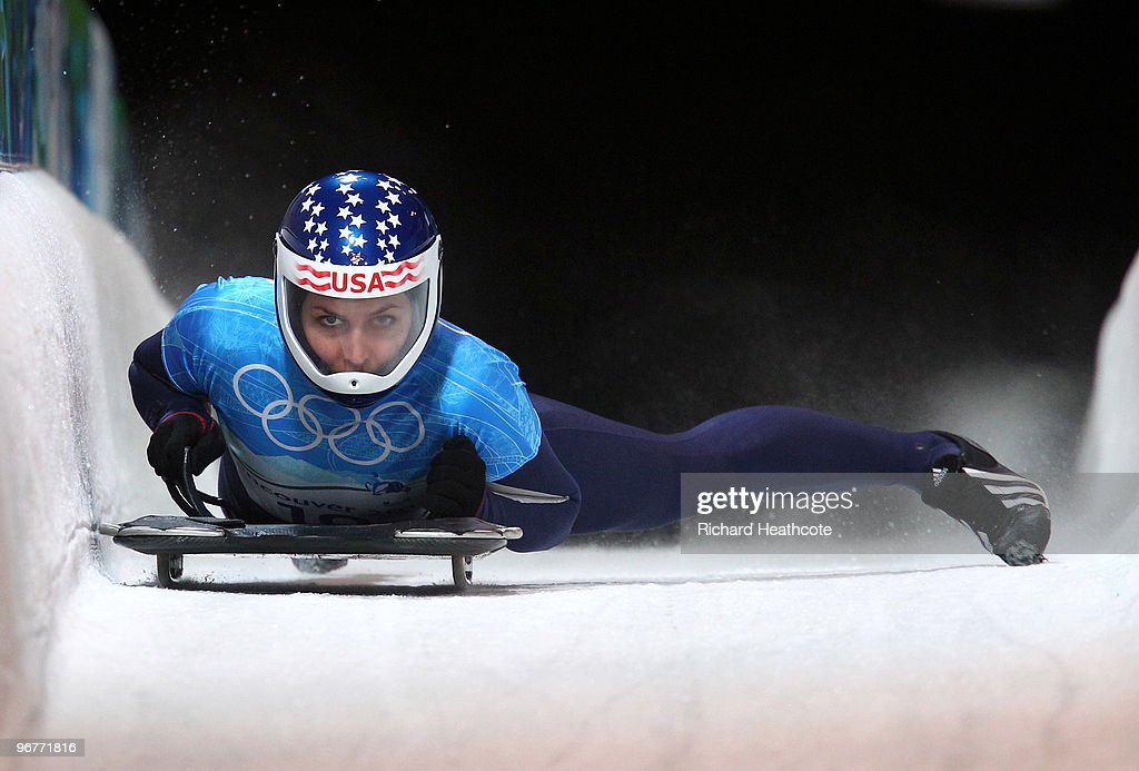 Noelle PikusPace of the United States practices during skeleton training on day 5 of the Vancouver 2010 Winter Olympics at Whistler Sliding Centre on...
