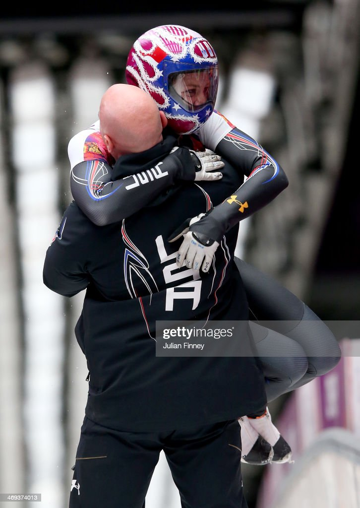 Noelle PikusPace of the United States reacts after competing a run during the Women's Skeleton on Day 7 of the Sochi 2014 Winter Olympics at Sliding...