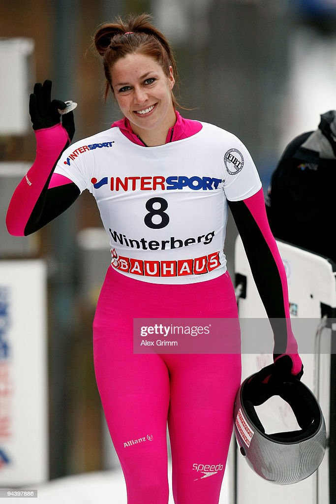 Noelle PikusPace of the US after her second run in the skeleton women's competition during the FIBT Bob Skeleton World Cup at the bob run on December...