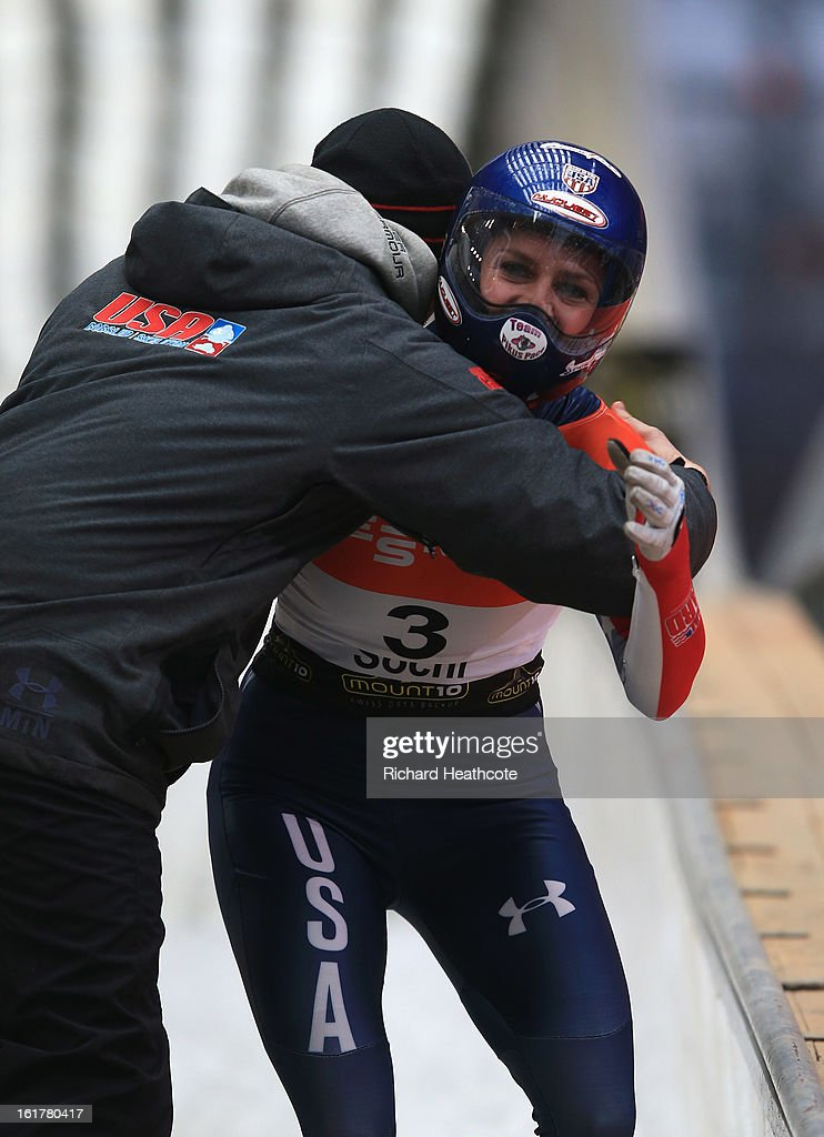 Noelle Pikus-Pace of the USA celebrates winning the Women's Skeleton Viessman FIBT Bob & Skeleton World Cup at the Sanki Sliding Center in Krasnya Polyana on February 16, 2013 in Sochi, Russia. Sochi is preparing for the 2014 Winter Olympics with test events across the venues.