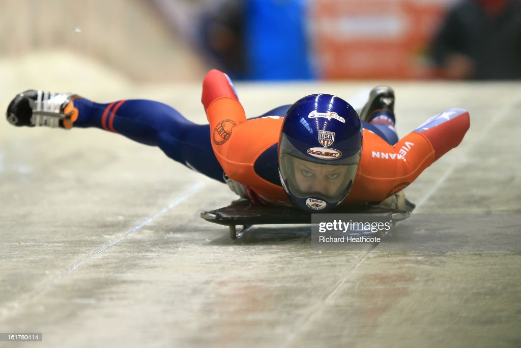 Noelle PikusPace of the USA launches herself down the track on the way to winning the Women's Skeleton Viessman FIBT Bob Skeleton World Cup at the...