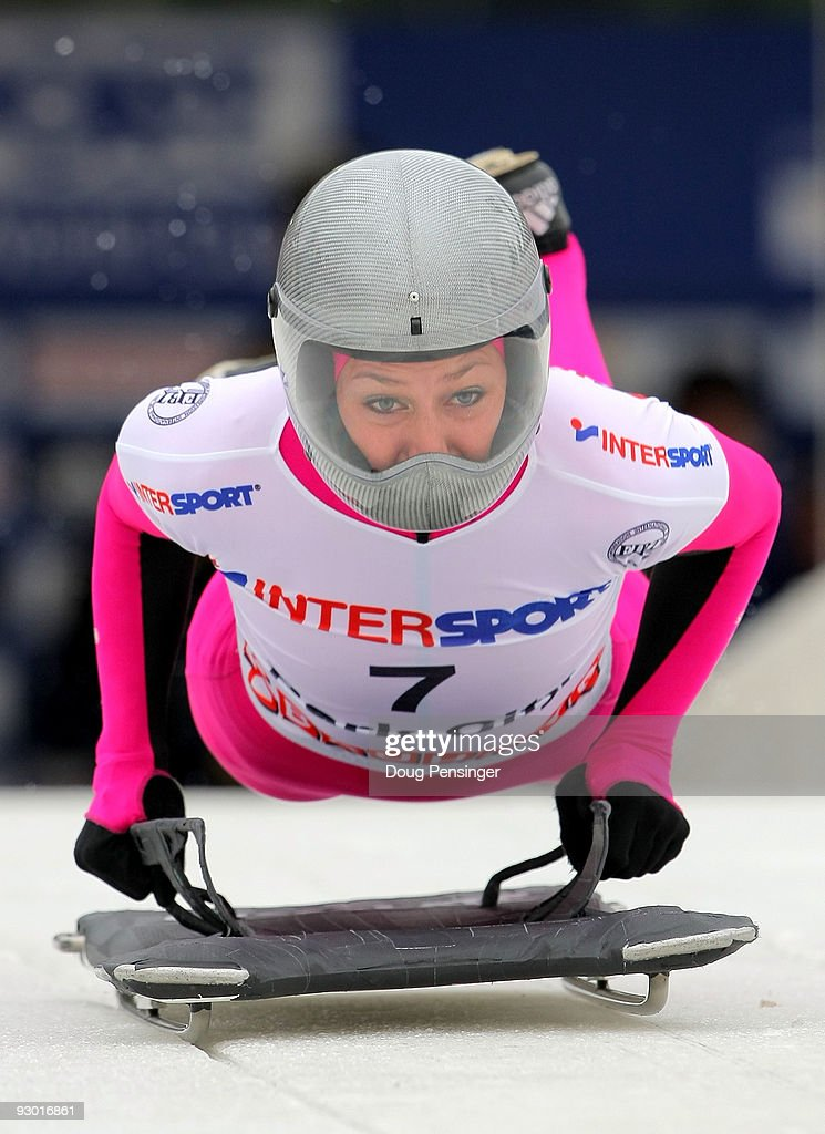Noelle PikusPace of the USA leaves the start on her first run enroute to finishing 13th in the Women's Skeleton World Cup at the Utah Olympic Park on...