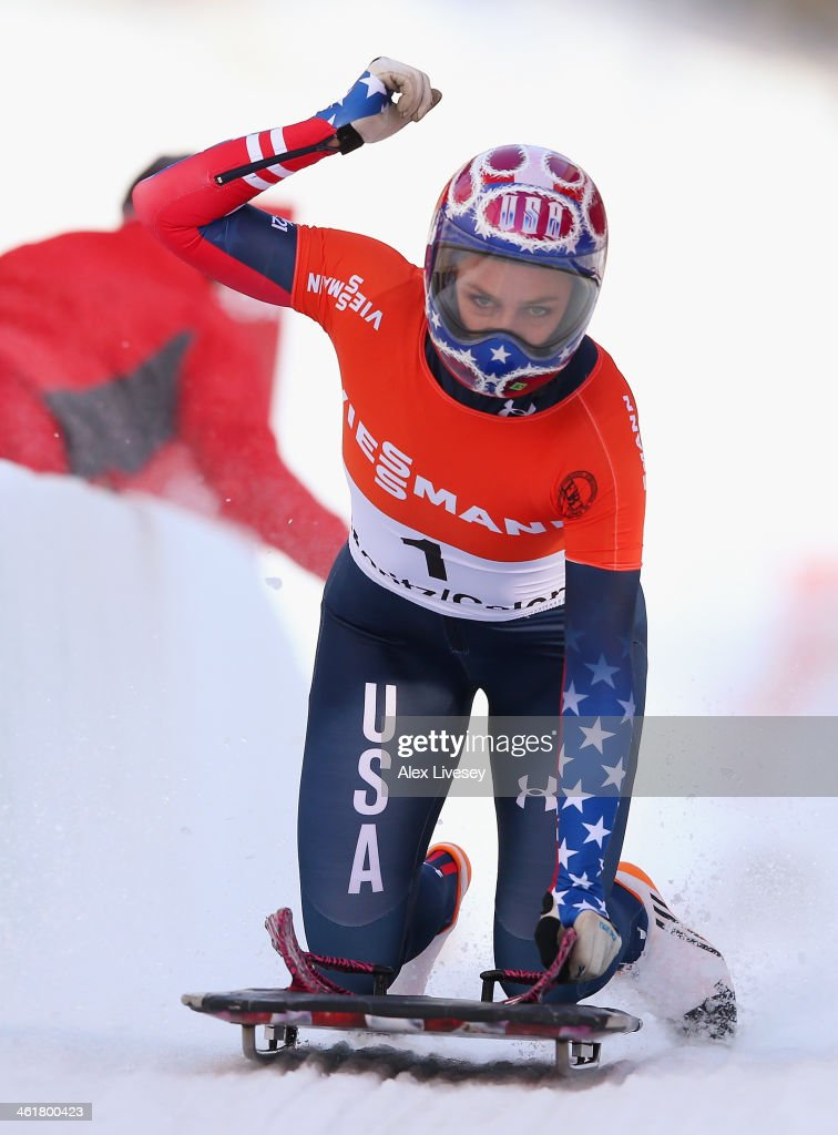 Noelle PikusPace of USA celebrates after winning the Women's Skeleton at the Viessmann FIBT Bob Skeleton World Cup at the Olympia Bob Run on January...