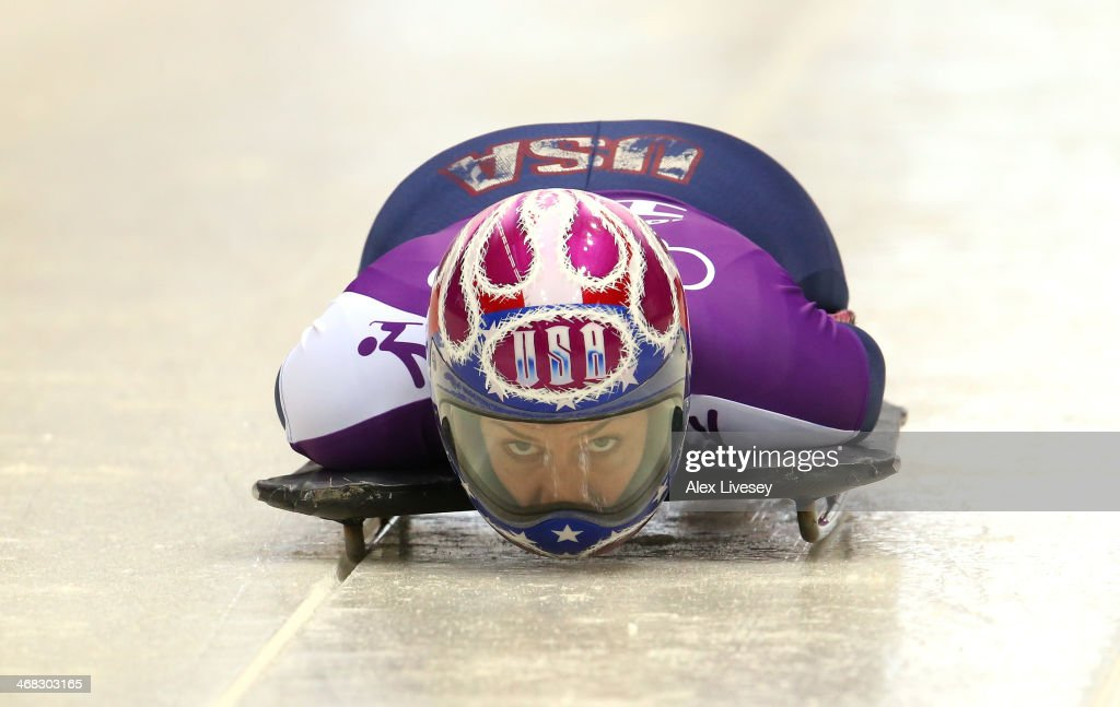 <a gi-track='captionPersonalityLinkClicked' href=/galleries/search?phrase=Noelle+Pikus-Pace&family=editorial&specificpeople=184522 ng-click='$event.stopPropagation()'>Noelle Pikus-Pace</a> of USA in action during a Women's Skeleton training session on Day 3 of the Sochi 2014 Winter Olympics at the Sanki Sliding Center on February 10, 2014 in Sochi, Russia.